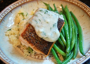 Pan Seared Salmon with Lemon Dill Sauce